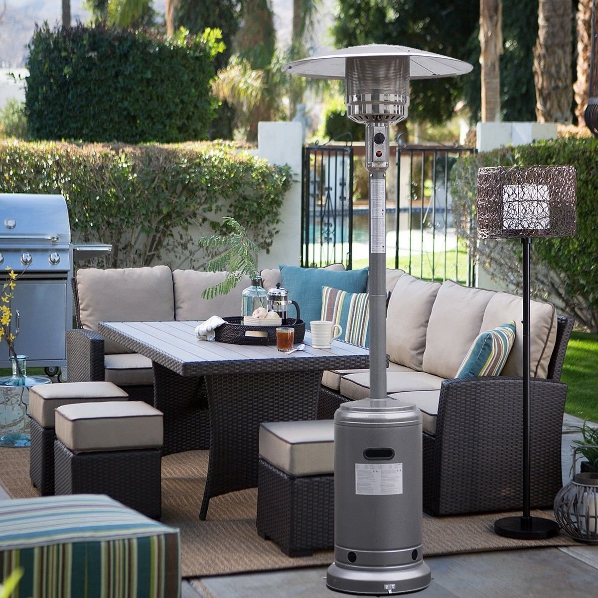 Amazon.com : Garden Outdoor Patio Heater Propane Standing LP Gas Steel  W/accessories Silver Gray : Garden U0026 Outdoor