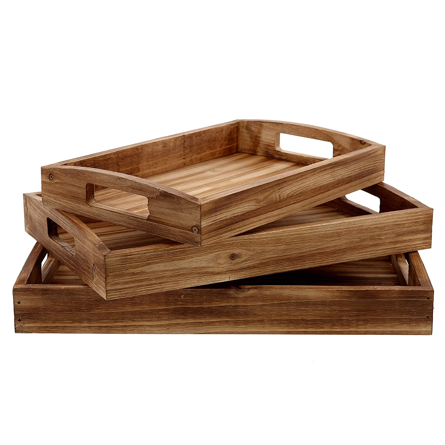 Barnyard Designs Torched Wood Nesting Serving Trays Handles Rustic