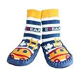 Baby Boy Toddlers Kids Indoor Slippers Shoe Socks Moccasins ANTI SLIP BLUE STEAM TRAIN