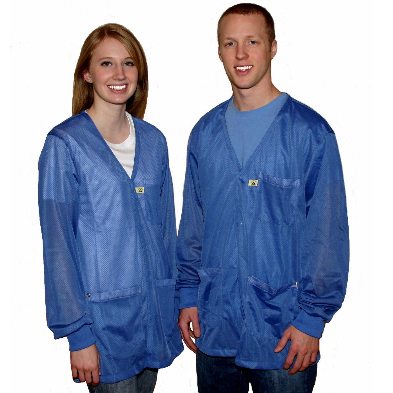 StaticTek Full Sleeve V Neck ESD Jacket | Anti-Static Knit Cuffs Lab Coat | Certified Level 3 Static Shielding | Light Weight | ESD Smocks with High ESD Protection | Large | Light Blue | TT_JKV8824LB