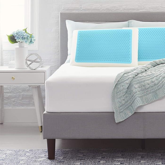Comfort Revolution Blue Bubble Gel + Memory Foam Pillow, Standard, White