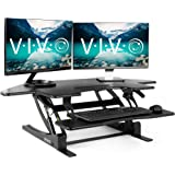 VIVO Black Corner Height Adjustable 43 inch Cubicle Standing Desk Converter, Quick Sit to Stand Tabletop Dual Monitor…