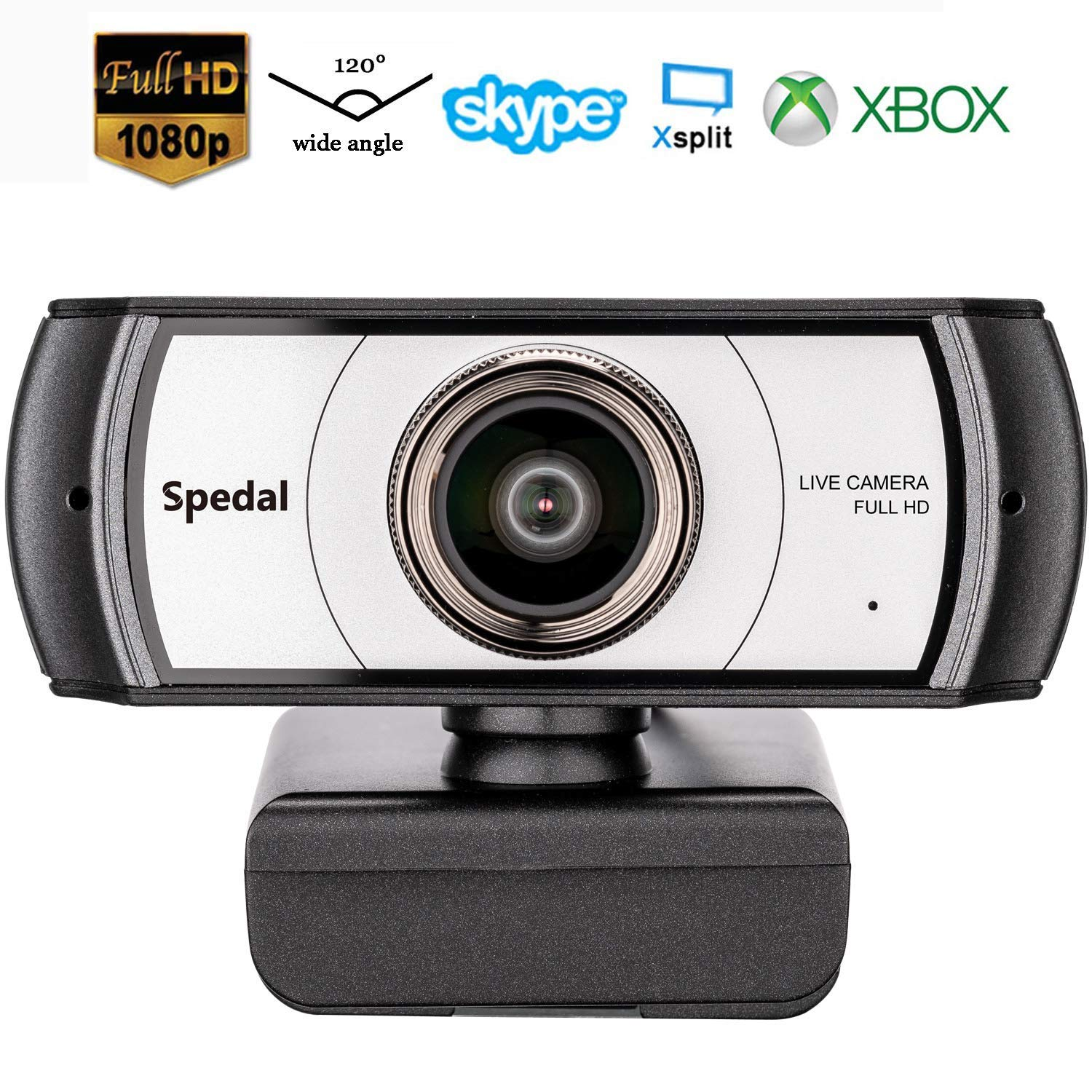 Wide Angle Webcam,120 Degree Large View Spedal 920 Pro Video Conference Camera, Full HD 1080P Live Streaming Web Cam with Built-in Microphone, USB Webcam for Mac, PC, Laptop and Desktop by Spedal