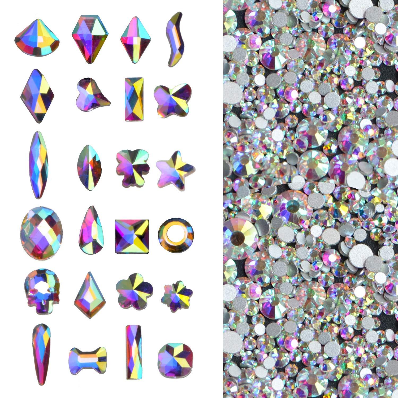 2000Pcs AB Crystal Rhinestones Set (1760pcs+240pcs), Round & Multi-Shape AB Glass Rhinestone, Flatback AB Crystals for Nails, Clothes, Face, Jewelry   Aurora Borealis by Massive Beads