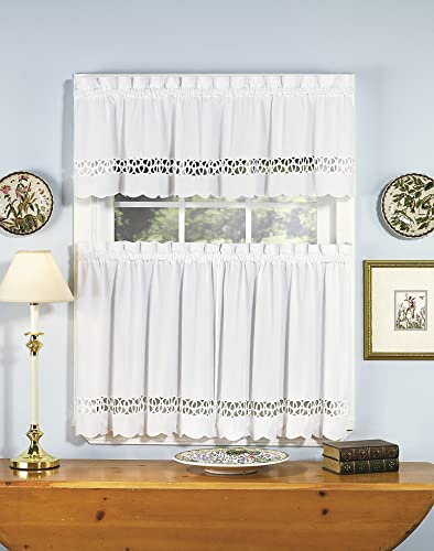 Today s Curtain Hellina Tapework Window Tier, 36-Inch, White