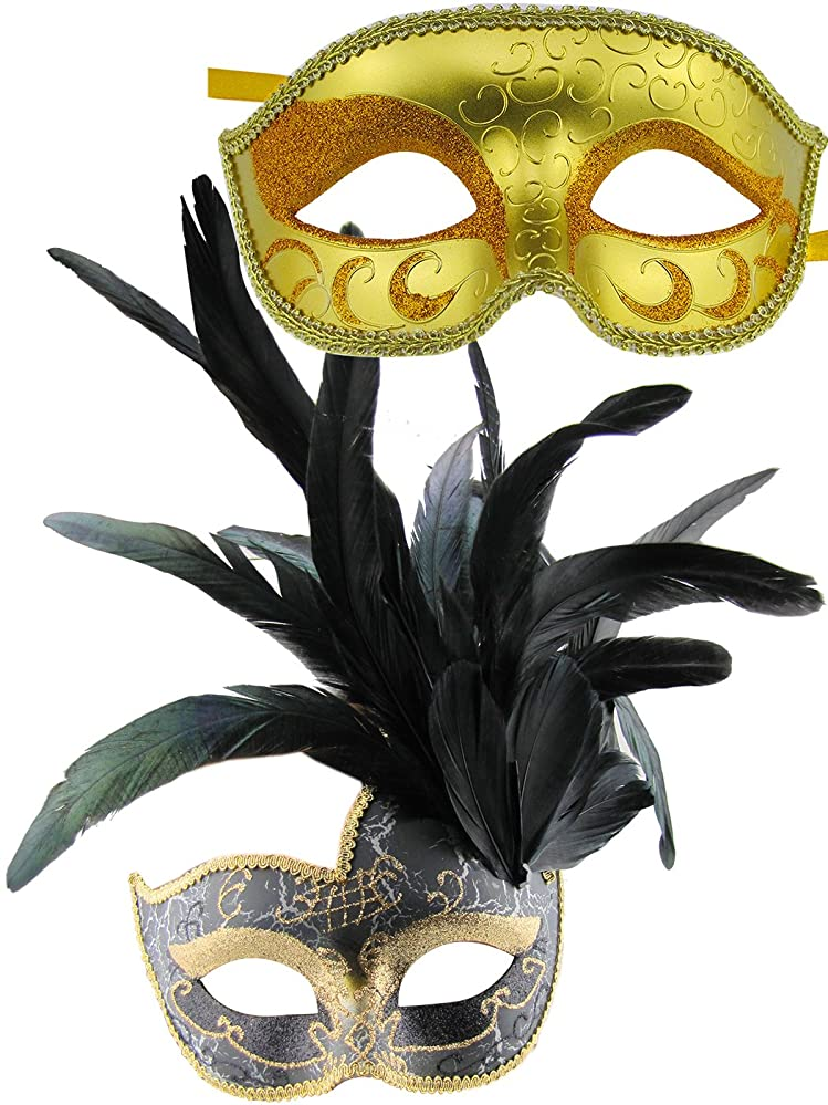 Masquerade Ball Clothing: Masks, Gowns, Tuxedos Thmyo Couples Feather Masquerade Mask Venetian Costume Christmas Party Mask.(2 Pack) $12.28 AT vintagedancer.com