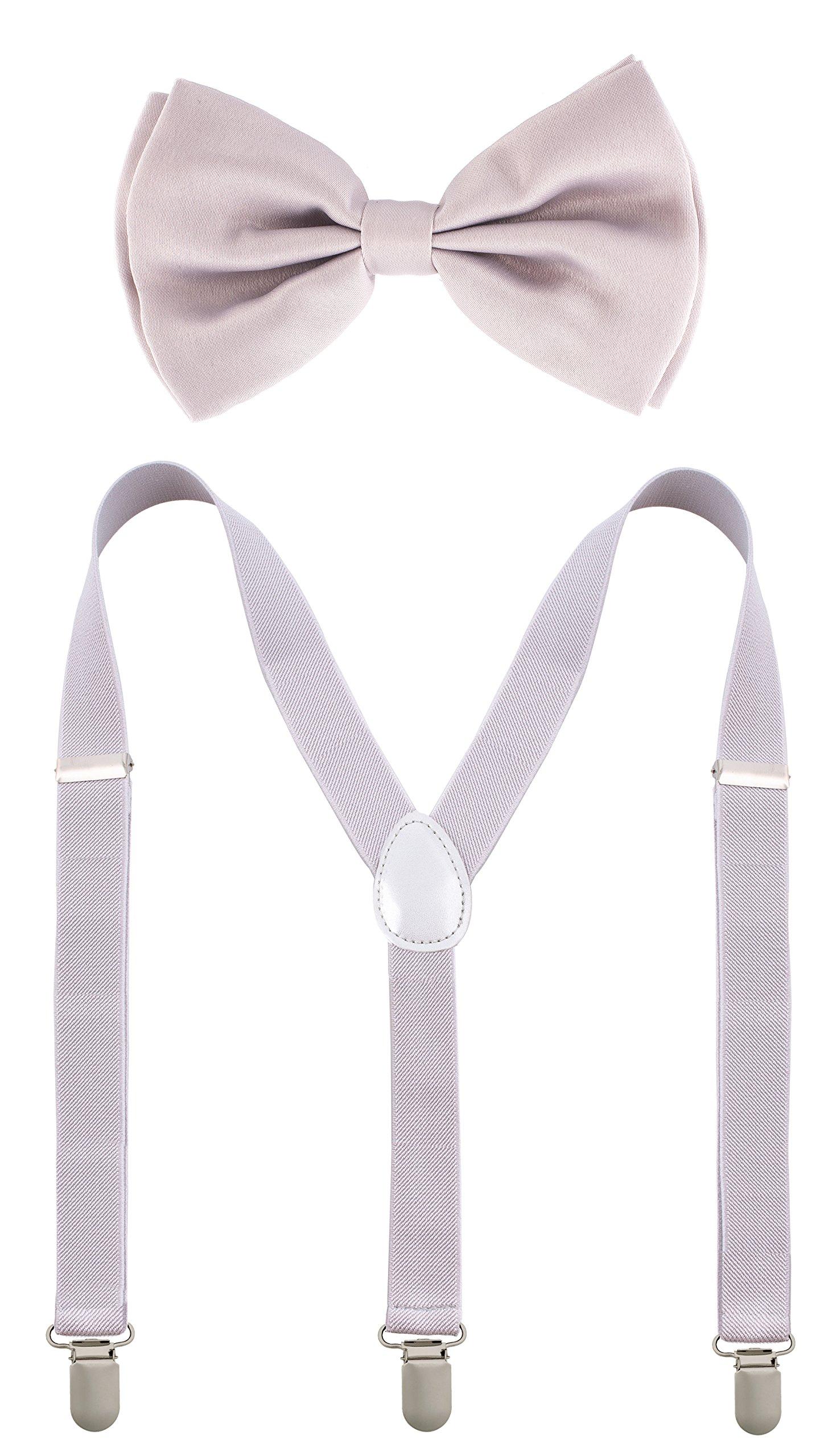 Man of Men - Bowtie & Suspenders Sets - Pastel Colors (Light Grey) by Man of Men