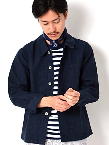 Linen French Work Jacket 114-03-0841: Navy