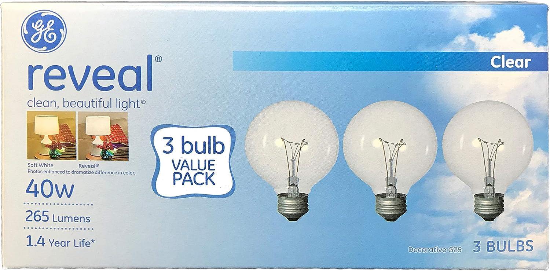 GE Lighting Reveal 40 Watt; 265 Lumens 1.4 Year Life Decorative G25 Crystal Clear Globe Medium Base Light Bulbs (3 Bulbs)