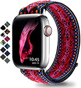 Compatible with Apple Watch Band 38mm 42mm 40mm 44mm Braided Solo Loop for Apple Watch Series 3 6 5 4 2 1 (Boho-Red S 38mm/40mm)