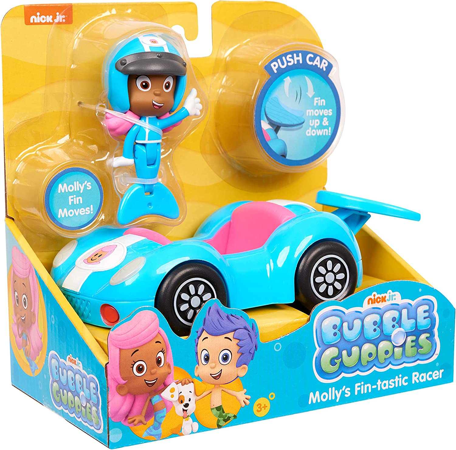 Fin Moves Up /& Doawn Bubble Guppies Mollys Fin-Tastic Racer Push Car Mollys Fin Moves!