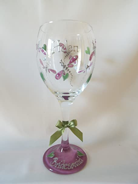 c4ce6d8843f Dragonfly Design Wine Glass Hand painted by Luci Lu Designs - Can Be  Personalised (Green/Lilac)