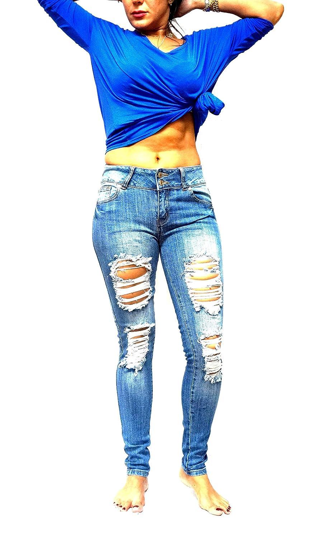 9056b1d629 Machine/Jack David Jeans Jumiors Plus Skinny Ripped Distressed Blue Denim  Stretch Jean Pants at Amazon Women's Jeans store
