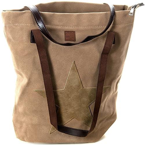 5a91be01ba513 Schultertasche mit aufgenähtem STERN Shopping Bag Vintage Tasche Shopper  mit Henkel Handtasche TOP TREND (Hellbraun
