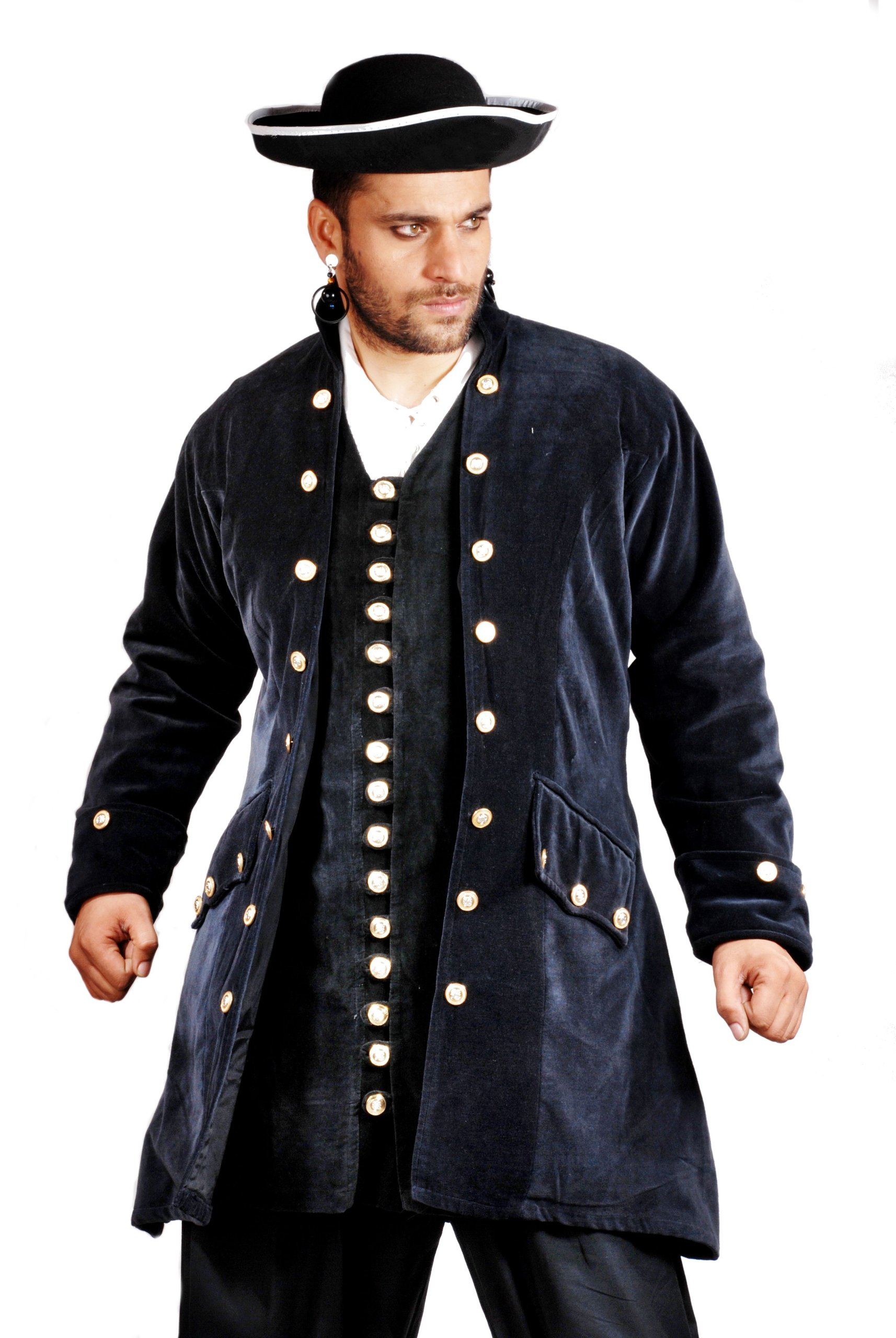Captain De Lisle Coat - Black Cotton Velvet - Size XX-Large by The Pirate Dressing (Image #1)