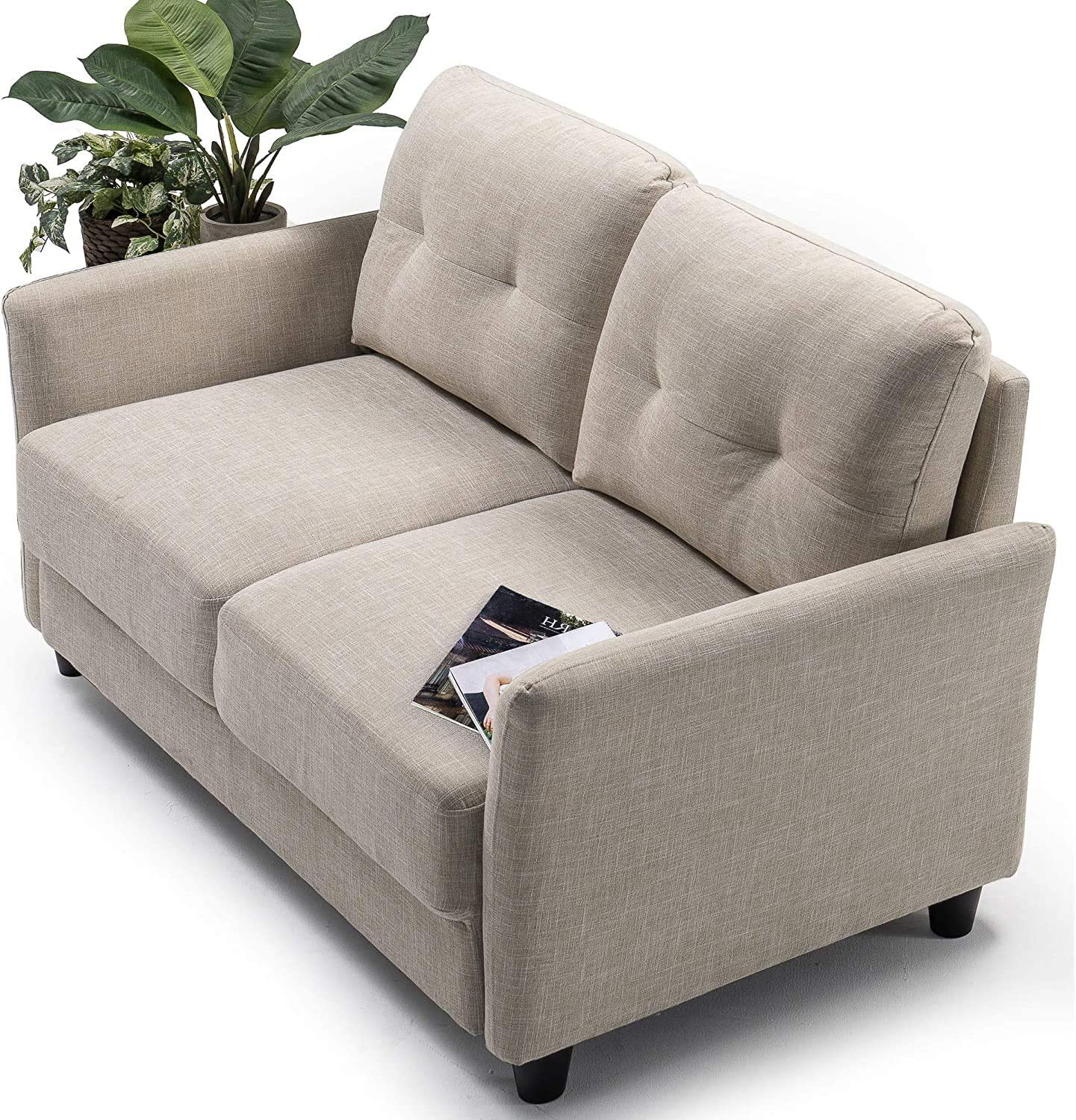 ZINUS Ricardo Loveseat Sofa / Tufted Cushions / Easy, Tool-Free Assembly, Beige