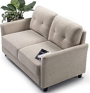 ZINUS Ricardo Loveseat Sofa / Tufted Cushions / Easy, Tool-Free Assembly, Beige