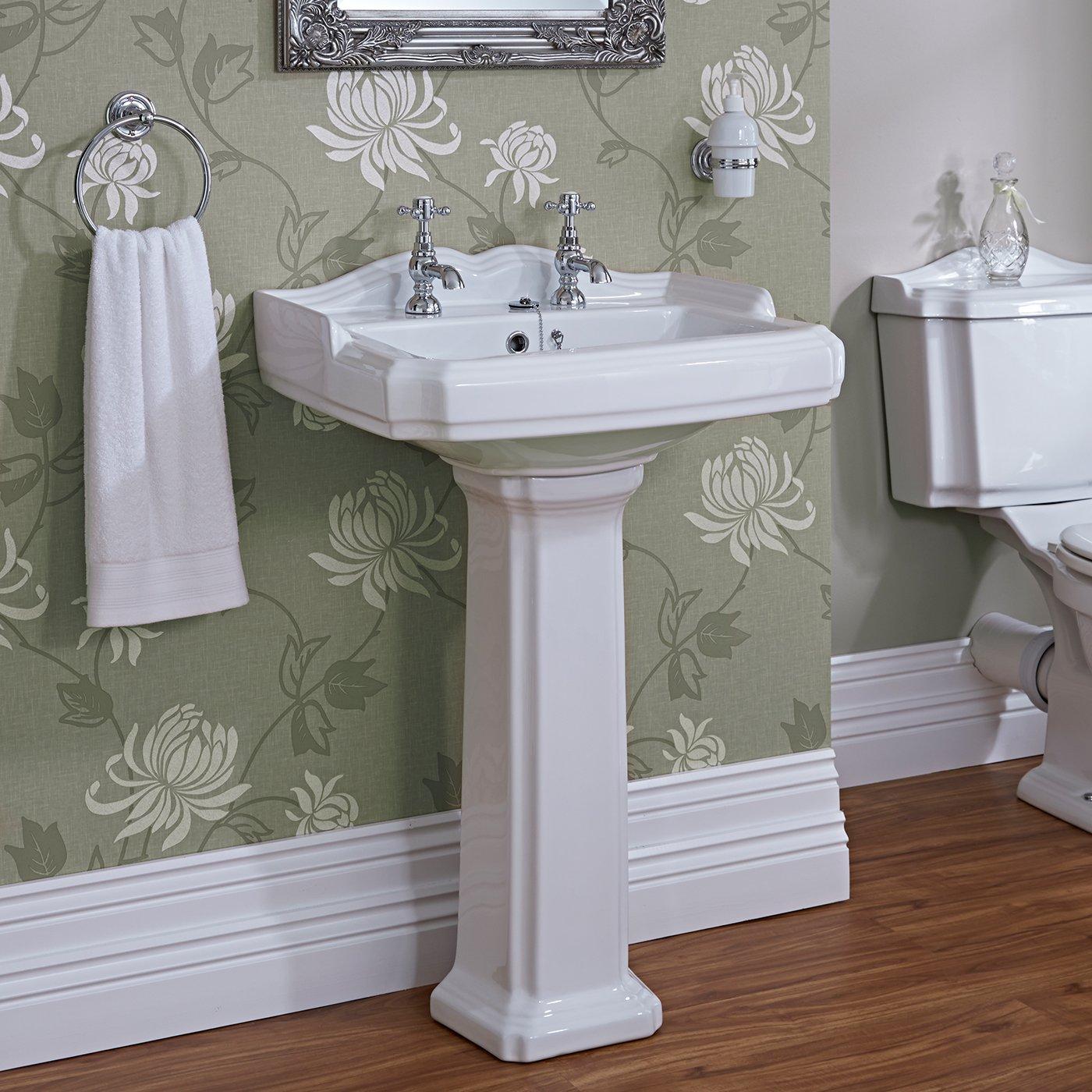 Home Standard Fitzwilliam Traditional Bathroom 1 Tap Hole Sink Wash Basin & Full Floorstanding Pedestal