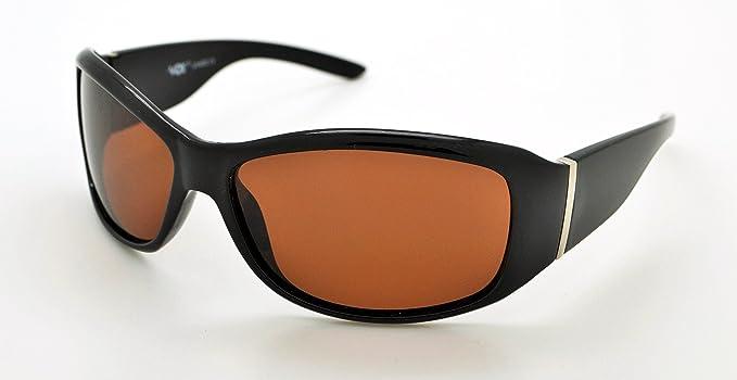 VOX Polarisierte trendige klassische Sonnenbrille von hoher Qualität für Herren & Damen, Sonnenbrille + Mikrofaserbeutel, mehrfarbig, VOX-63015P-FBLK-LBRN