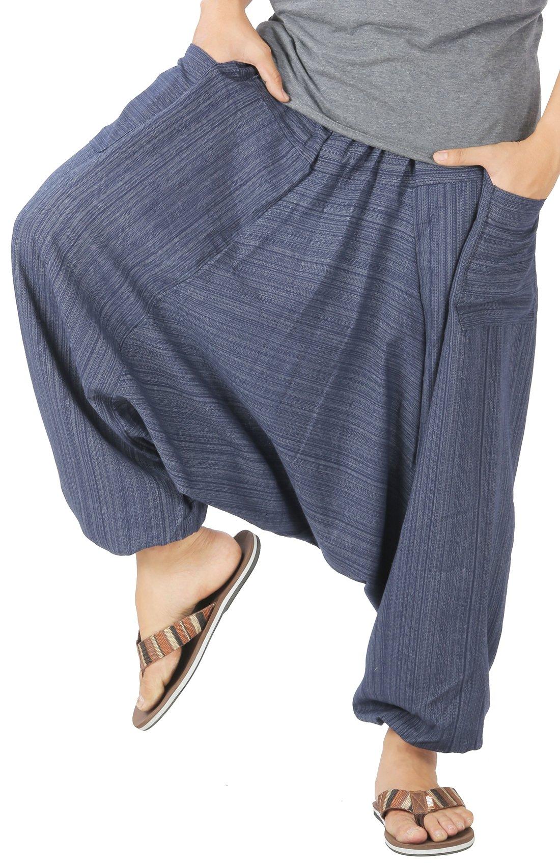 CandyHusky Mens Stripe Cotton Summer Baggy Boho Aladdin Hippie Yoga Harem Pants (Dark Blue)