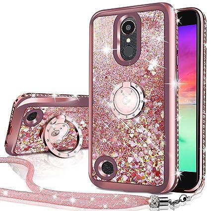 LG K20 V Case,LG K20 Plus Case,LG Harmony Case, Silverback Moving Liquid Holographic Sparkle Glitter Case with Kickstand, Bling Diamond Rhinestone ...