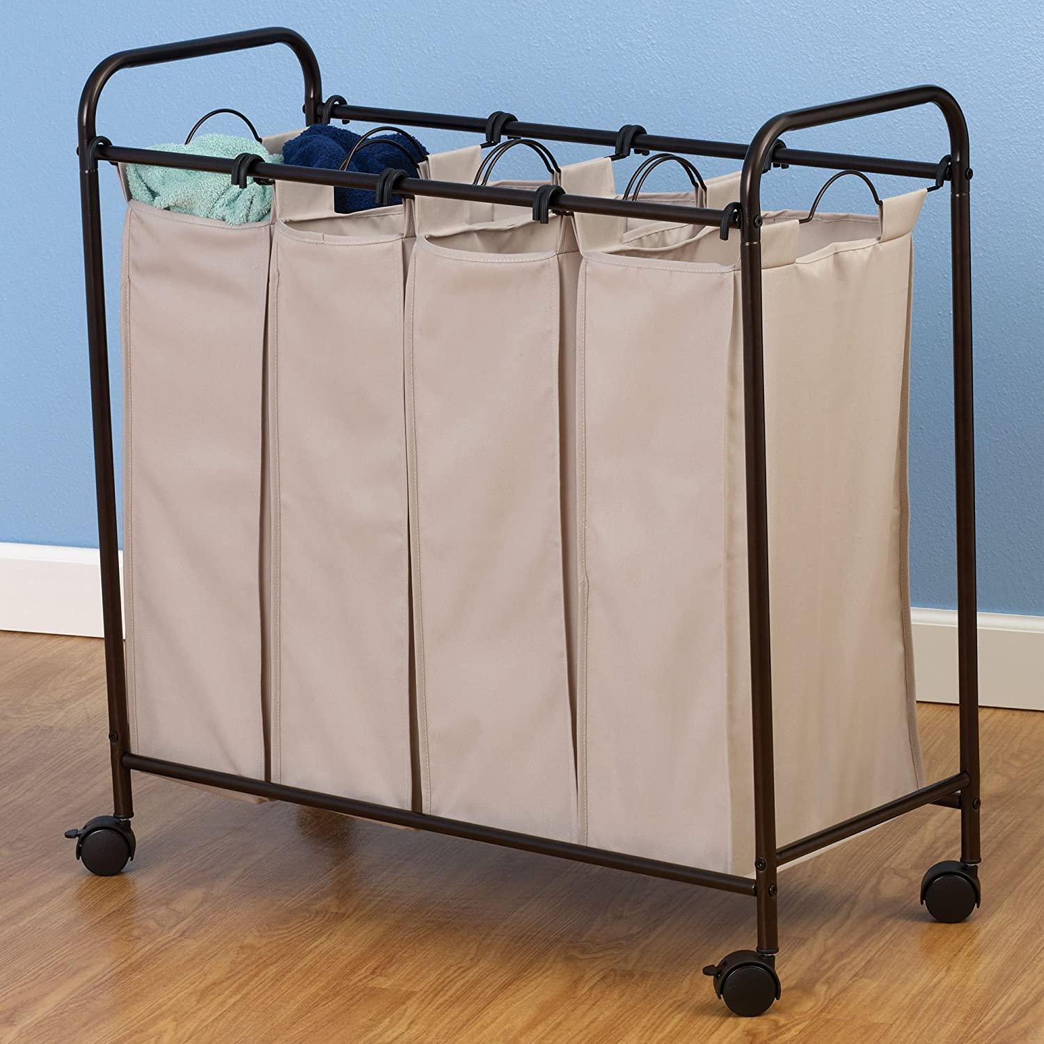 amazoncom household essentials rolling quad laundry sorter with removable hamper bags antique bronze frame home u0026 kitchen