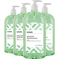 Amazon Brand - Solimo Hand Sanitizer with Vitamin E and Aloe, 32 Fl Oz (Pack of 4)