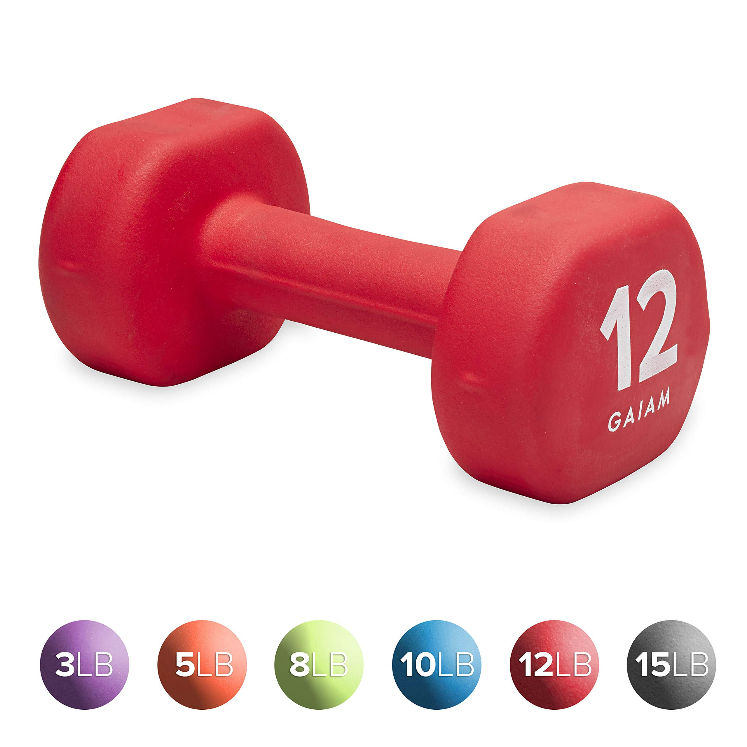 Gaiam Neoprene Dumbbell Hand Weight, Red, 12 lb (Sold as Single Dumbbell)