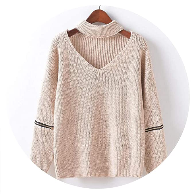 Jifnhtrs Solid Sweater Jumper Pullover Long Zipped Sleeve