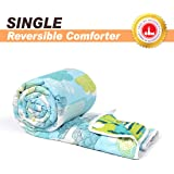 Divine Casa Microfibre Comforter/Blanket/Quilt/Duvet Lightweight, All Weather Single Comforter, Abstract- Blue and Green