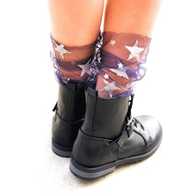 Colibri Co 1pcs Women?s Tulle Socks Transparent Girls Socks with Stars Glitter Mesh (Navy), Small at Amazon Women's Clothing store