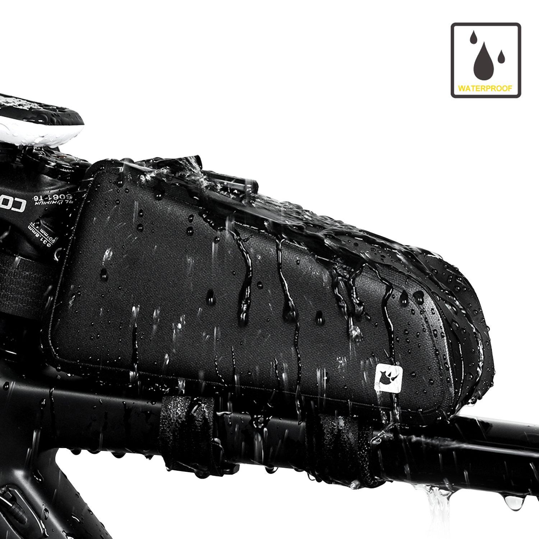 Sodee - Bolsa de Transporte para Bicicleta, diseño de Doble Cremallera, Resistente al Agua, Accesorios Profesionales de Ciclismo, Seamless Black diseño de Doble Cremallera