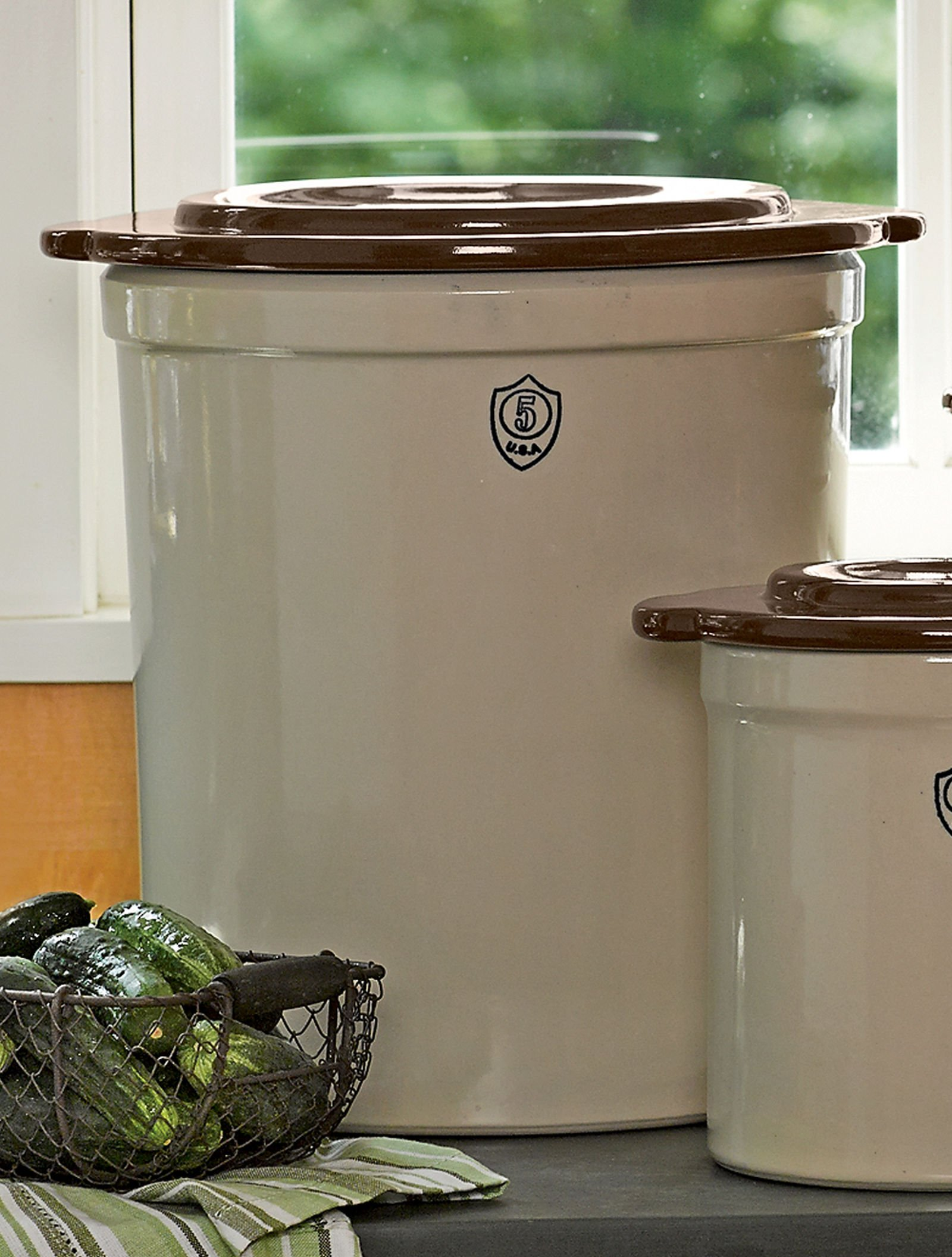 5-Gallon Stoneware Pickling Crock with Cover by Gardener's Supply Company