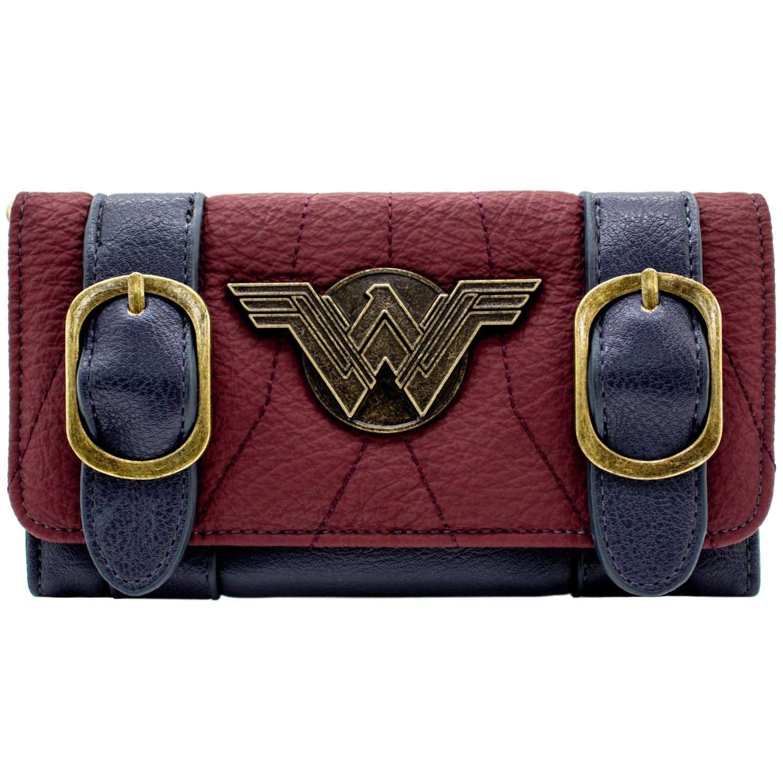 Cartera de DC Wonder Woman Placa de plata hebilla de correa Rojo DC Comics 29918