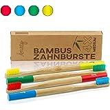 Amazy Brosses à dents en bambou (4 brosses | Mix) – Brosse à dents en bois écologique, pour laver vos dents naturellement