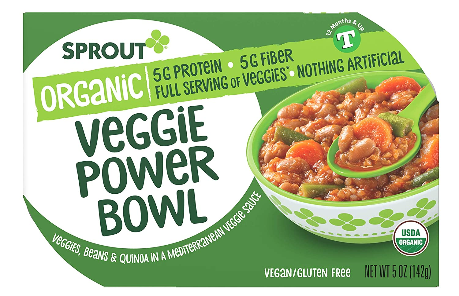 Sprout Organic Baby Food, Toddler Meals, Mediterranean Veggie Power Bowl with Beans & Quinoa, 5 Oz Bowl (8 Count)