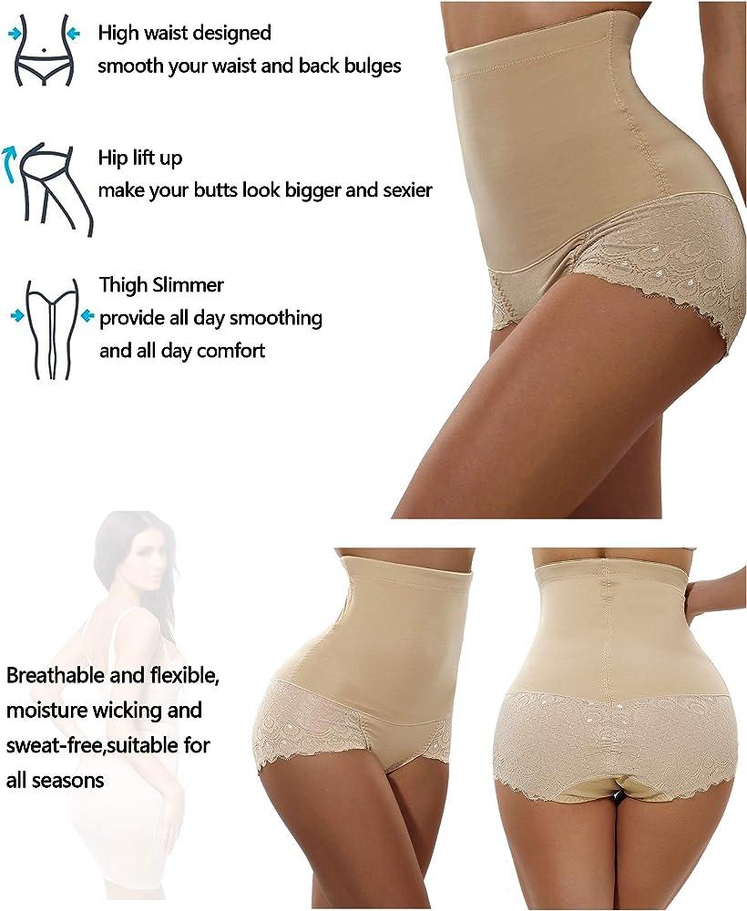 Womens Underwear Lifter Slim Waist Full Coverage Brief Panty Seamless Lace Pattern Beige