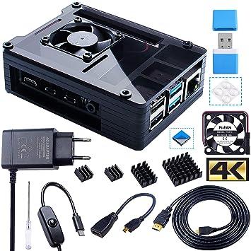 Bruphny Caja para Raspberry Pi 4, Caja con Ventilador, 5V 3A USB-C Cargador, 4 x Disipador, 1.8M Micro-HDMI Cable, USB Lector de Tarjetas, HDMI-Micro ...