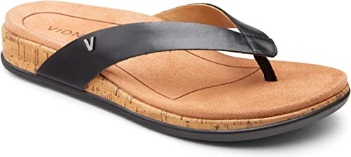Womens Vionic Karina Toe Post Orthotic Arch Support Flip Flops Sandals Black