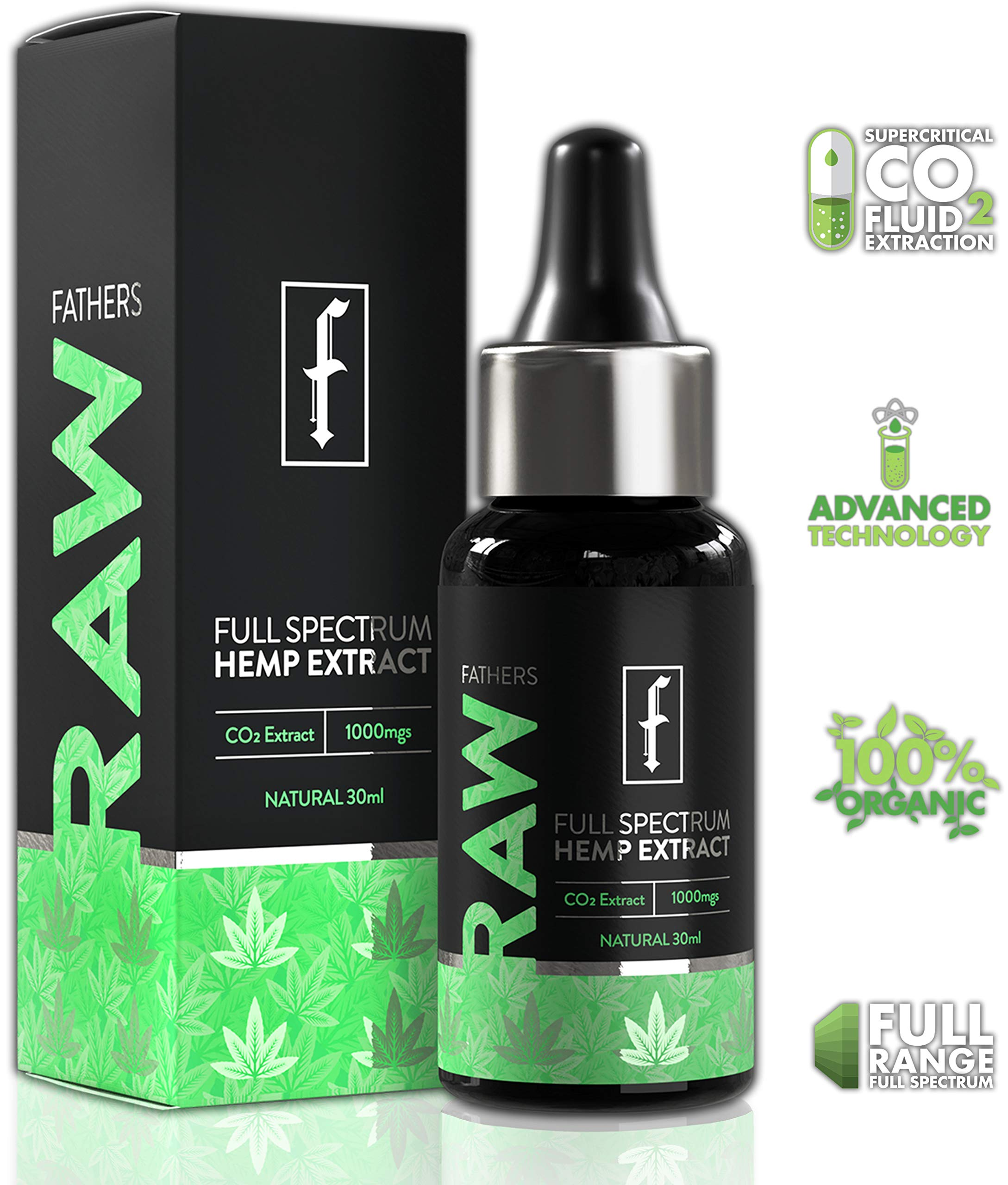 Organic Hemp Oil Extract Drops 1000mg - 30ml by Raw Fathers | Co2 Extracted | Full Spectrum Premium Hemp Extract Tincture | Supports Pain, Anxiety, Stress Relief & Brain Health | Made in The USA