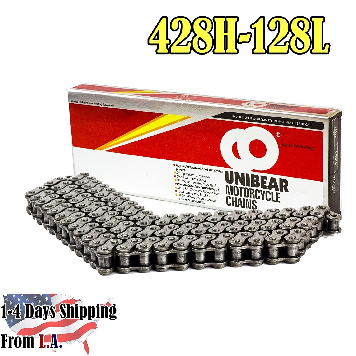 Unibear 428H 128 Links Motorcycle Chain with Connecting Link Natural Color 428H-128L Heavy Duty Japan Technology,Wear Resistance