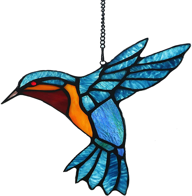 Alivagar Stained Glass Bird Window Hangings Suncatcher 9 X 7 1 2 Furniture Decor
