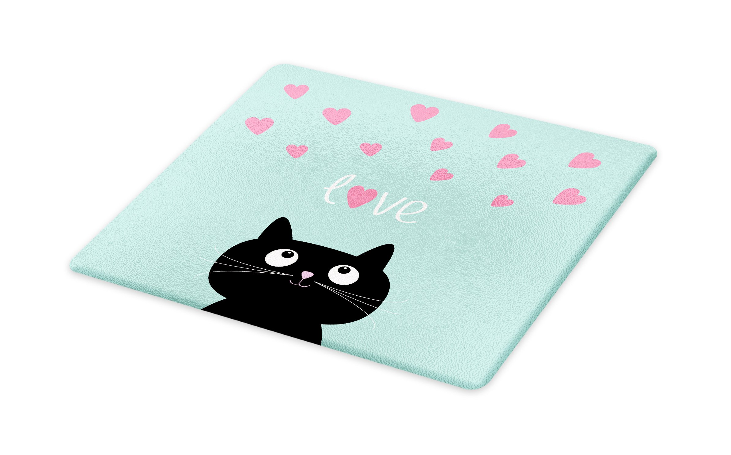 Lunarable Valentines Cutting Board, Kitty Heart Figures Cat Lovely Companions Kids Children Illustration, Decorative Tempered Glass Cutting and Serving Board, Large Size, Seafoam Pink Black