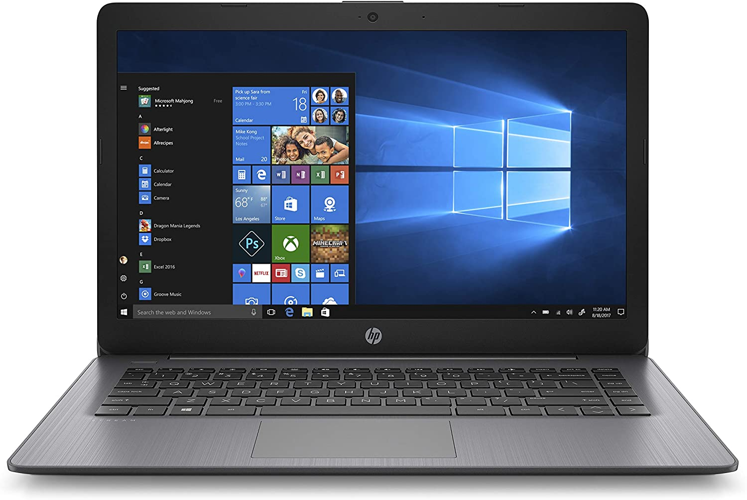 HP Stream 14-Inch Touchscreen Laptop, AMD Dual-Core A4-9120E Processor, 4 GB SDRAM, 64 GB eMMC, Windows 10 Home in S Mode with Office 365 Personal for One Year (14-ds0100nr, Brilliant Black),Blue
