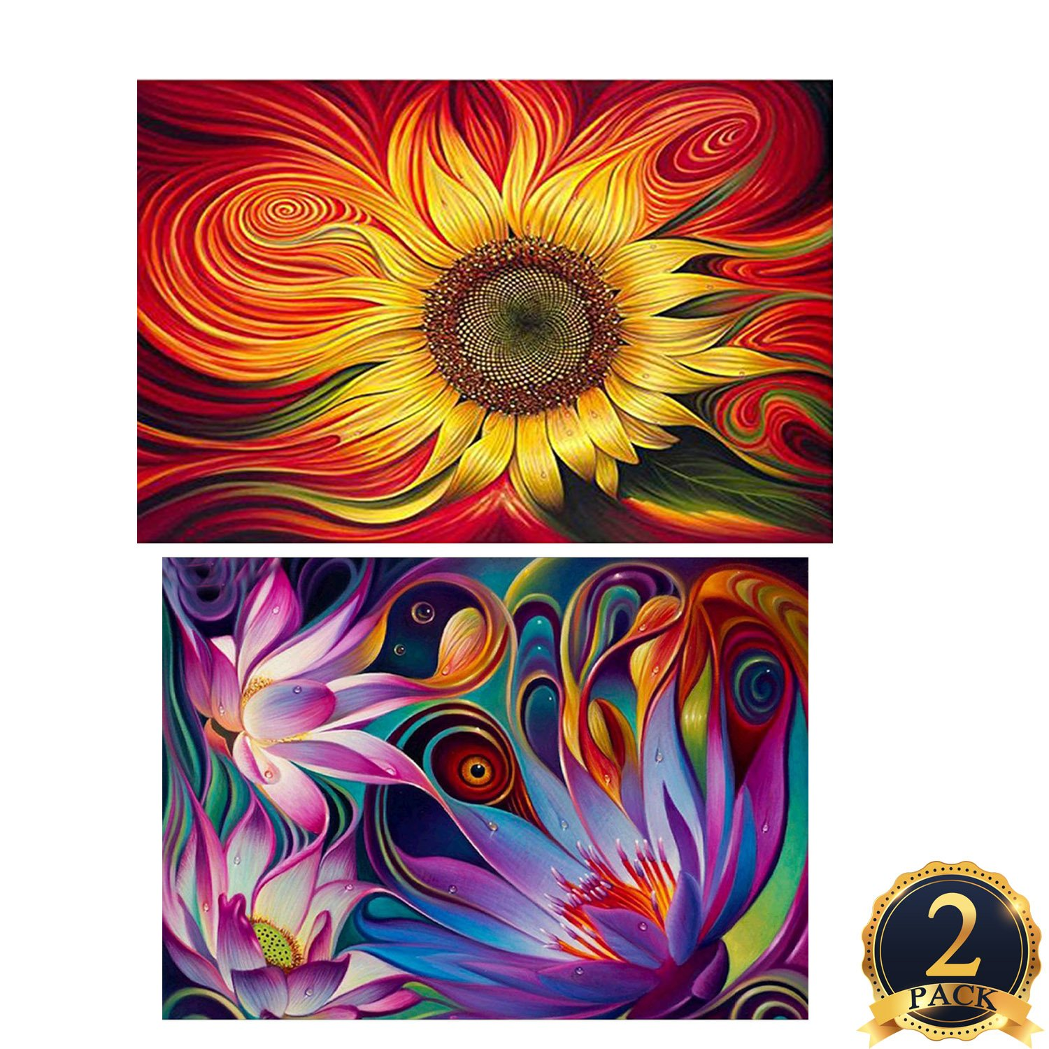 2 Pack 5D DIY Diamond Painting Set Decorating Wall Stickers Crystal Rhinestone Diamond Embroidery Paintings Pictures, Sun Flowers Painting(12X18inch) And lotus Fowers Painting(16X12inch) SUBANG