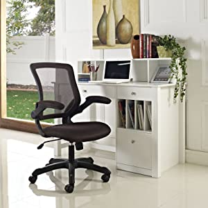 Modway Veer Mesh Office Chair in Brown, Brown Fabric