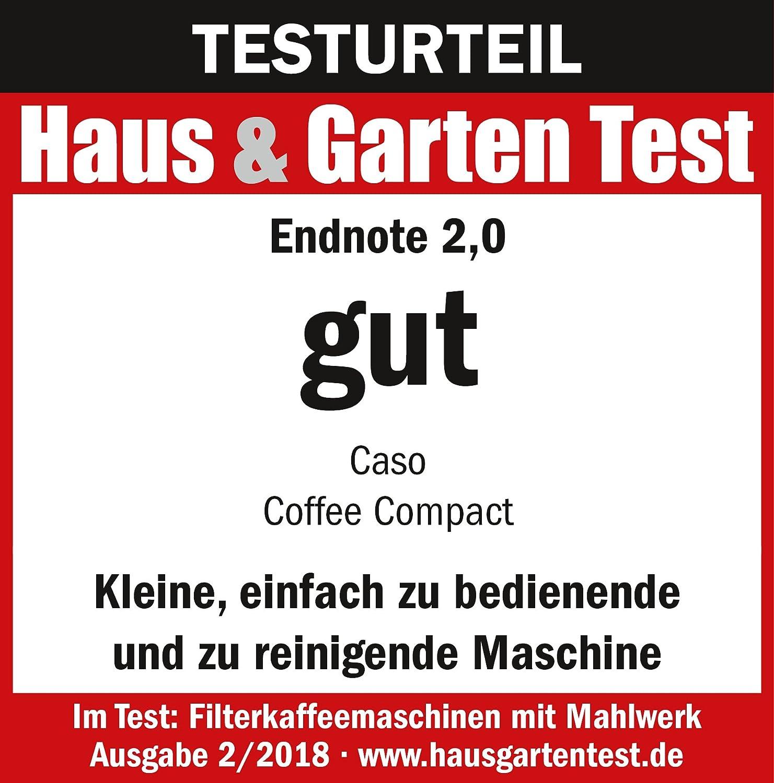 Caso Coffee Compact Design Macchina per caff/è con macina per fino a 4/tazze caff/è anche per vorgemahlenes polvere adatto 600/Watt Infusione e macina entnehmbar