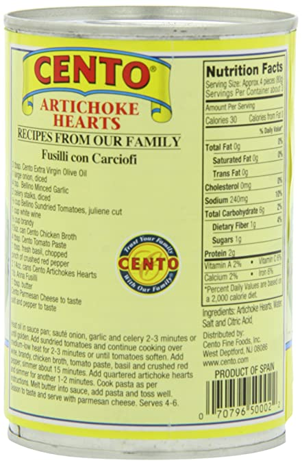 Amazon.com : Cento Artichokes, 14 Ounce : Canned And Jarred ...