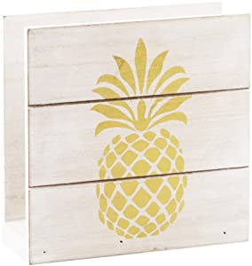 """Home Essentials 6"""" H White Wood Napkin Holder with Gold Pineapple"""