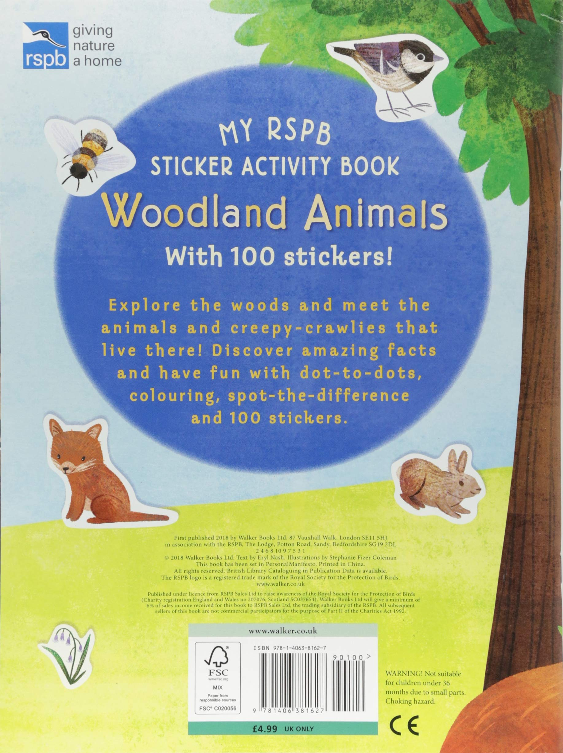 My rspb sticker activity book woodland animals amazon co uk eryl nash stephanie fizer coleman books